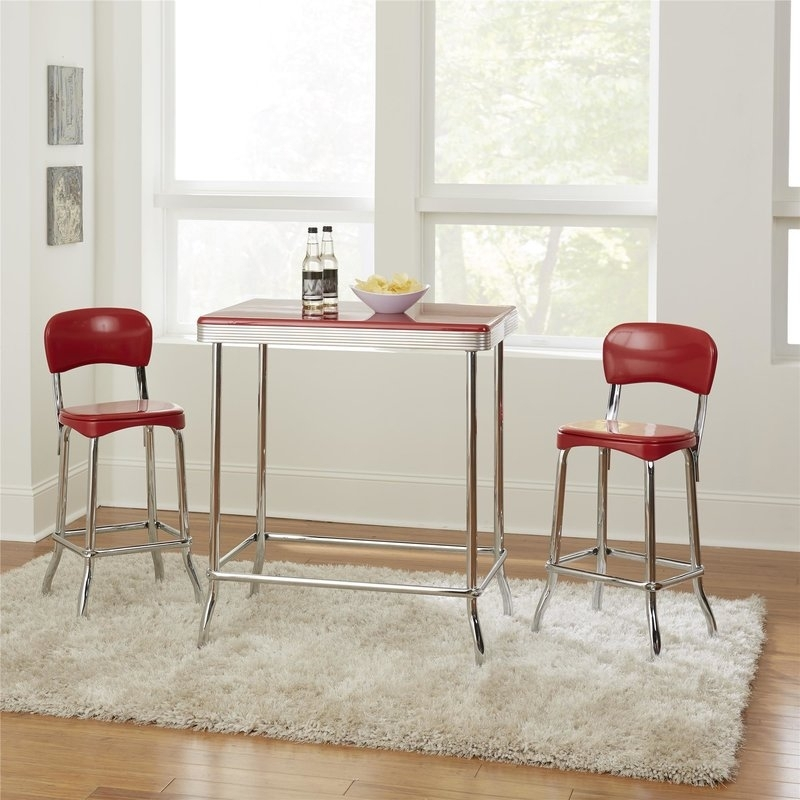 Ebern Designs Bate Red Retro 3 Piece Dining Set & Reviews | Wayfair Intended For Candice Ii 5 Piece Round Dining Sets (Photo 25 of 25)