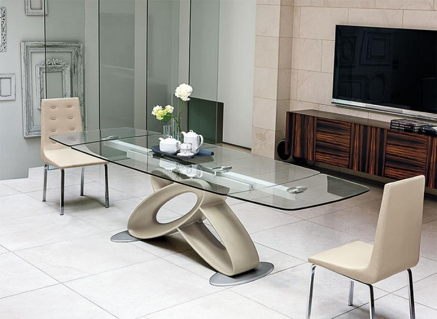 Eclipse Modern Rectangular Extending Glass Dining Table Regarding Extending Glass Dining Tables (Image 8 of 25)
