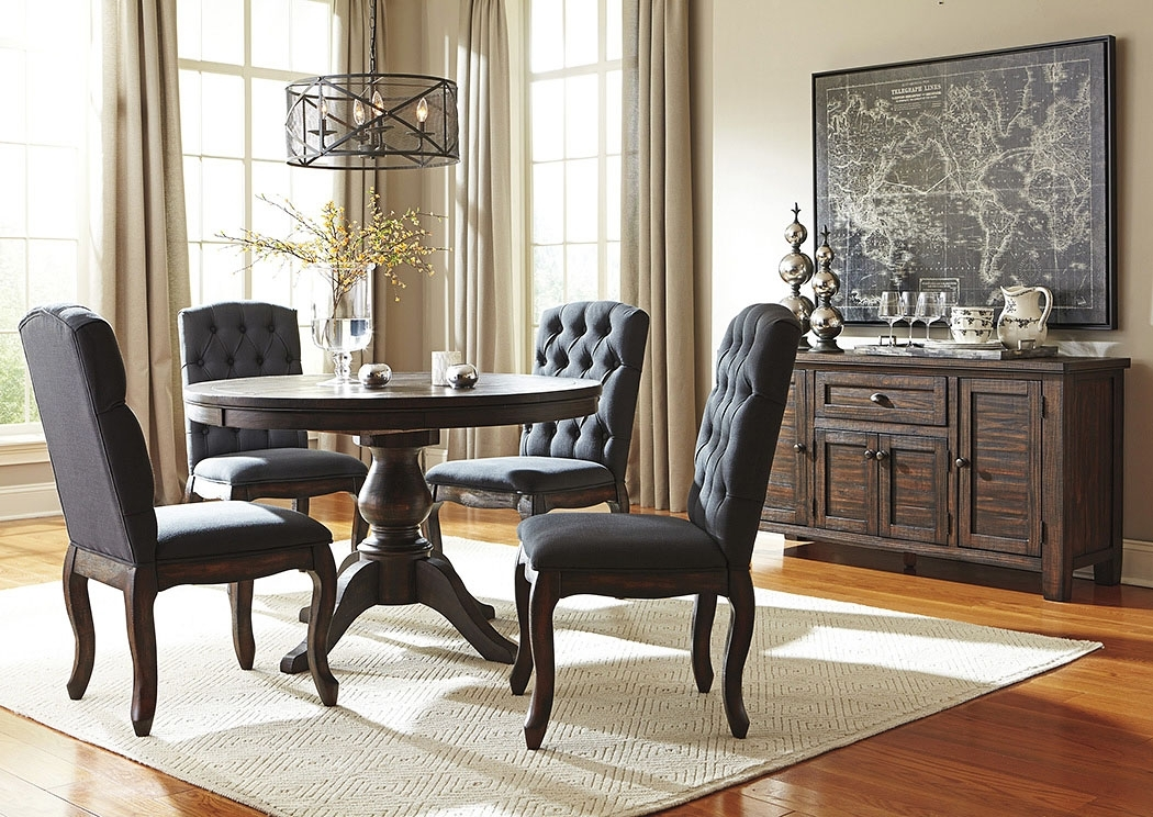 Eddie's Furniture & Mattress Trudell Golden Brown Round Dining Room within Jaxon 5 Piece Round Dining Sets With Upholstered Chairs
