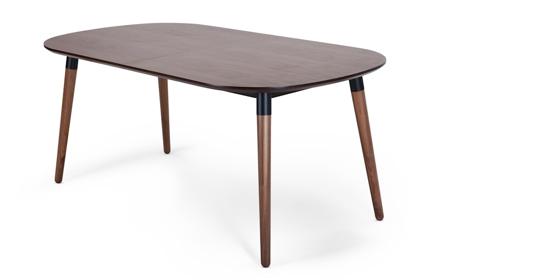Edelweiss Extending Dining Table, Walnut And Black | Made Within Black Extending Dining Tables (Image 9 of 25)