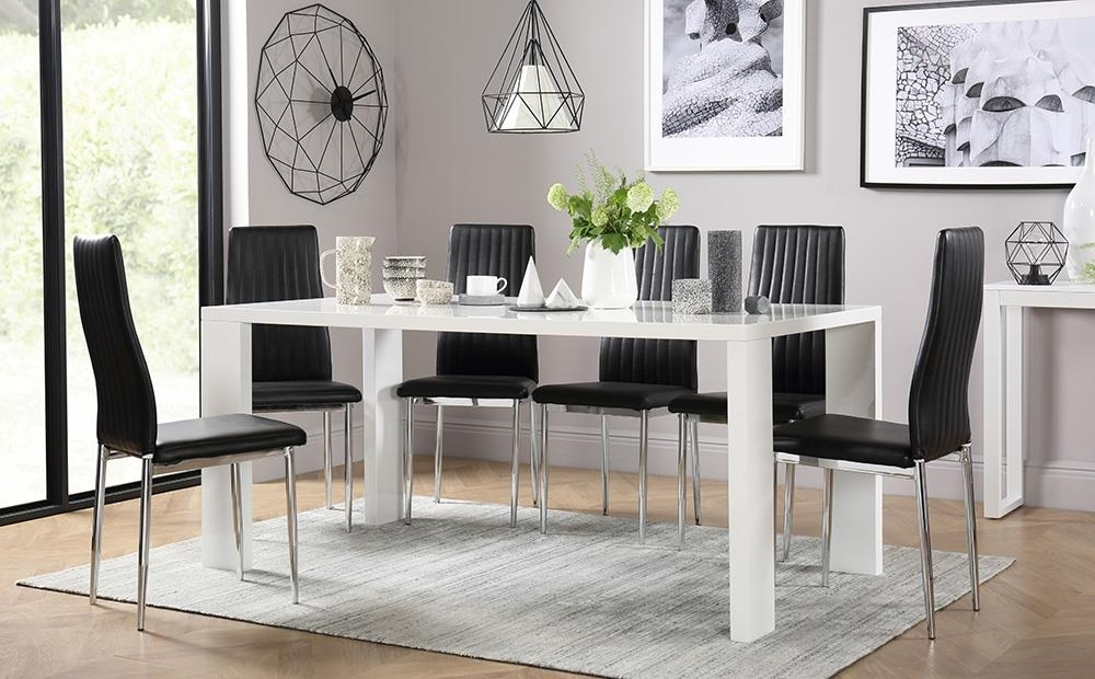 Eden 170Cm White High Gloss Dining Table With 4 Leon Black Only With Black Gloss Dining Room Furniture (Image 5 of 25)