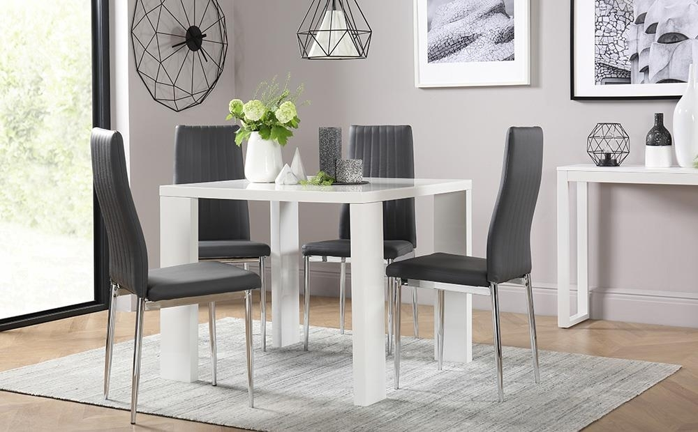 Eden Square White High Gloss Dining Table With 4 Leon Grey Chairs | Ebay inside Leon Dining Tables