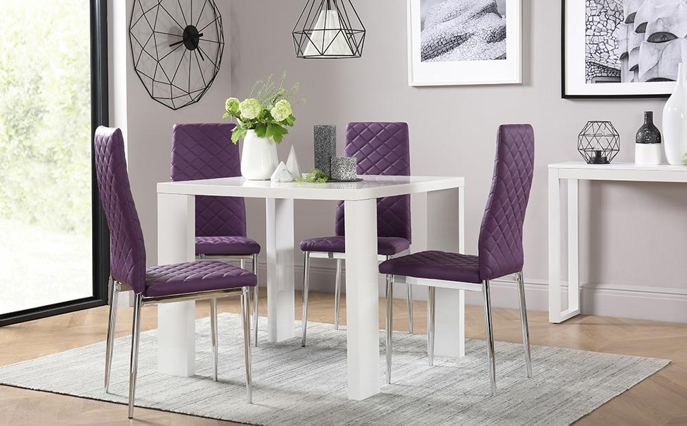 Eden Square White High Gloss Dining Table With 4 Renzo Purple Chairs For Dining Tables And Purple Chairs (Image 6 of 25)