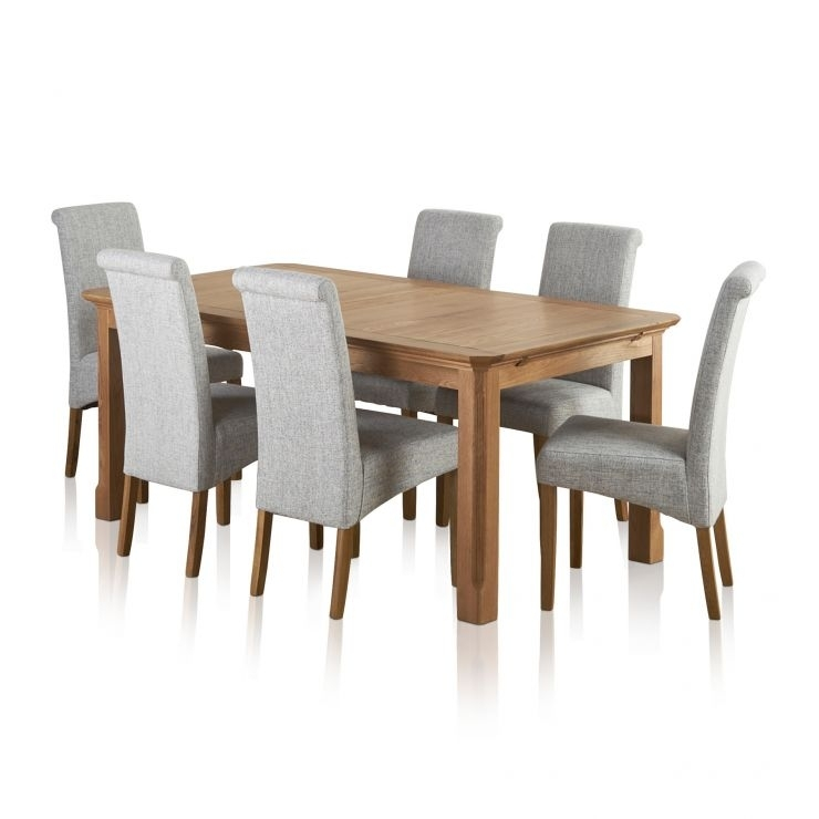 Edinburgh Extending Dining Set In Oak: Dining Table + 6 Chairs With Solid Oak Dining Tables And 6 Chairs (View 24 of 25)