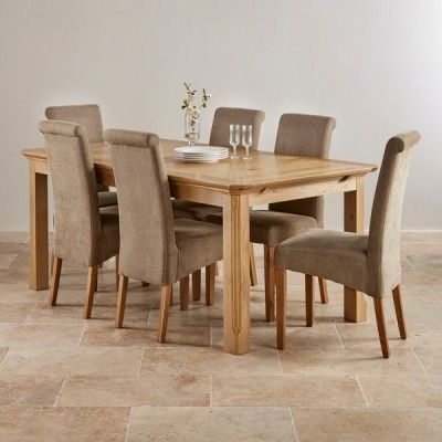 Edinburgh Natural Solid Oak Dining Set – 6Ft Extending Table With 6 Within Oak Dining Tables And Fabric Chairs (Image 11 of 25)
