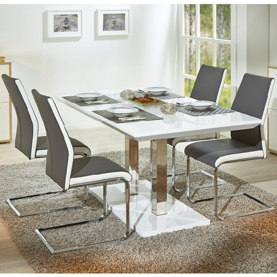 Edmonton Extendable Dining Table White Gloss 4 Marine Grey With 4 Seater Extendable Dining Tables (View 17 of 25)