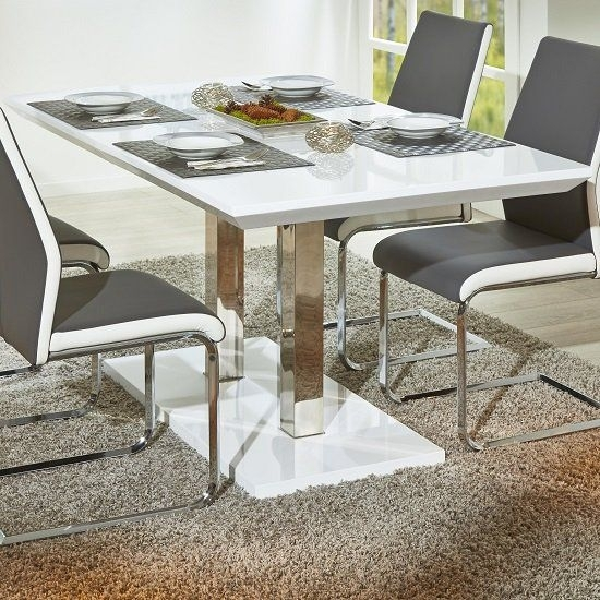 Edmonton Modern Extendable Dining Table In White High Gloss | New throughout Edmonton Dining Tables