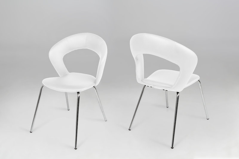 Edna Leather Look White Dining Chair – Homestreet Furniture, Gifts Throughout White Dining Chairs (Image 10 of 25)
