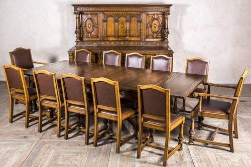 Edwardian Oak Dining Set Sideboard Extending Table – Antiques Atlas Inside Oak Dining Sets (Image 3 of 25)