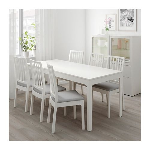 Ekedalen Extendable Table, White | Apartment Improvements With Lassen 7 Piece Extension Rectangle Dining Sets (Photo 2 of 25)
