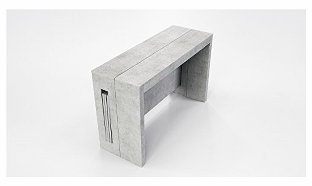 Elasto Gray Concrete Melamine Extendable Console / Dining Table With White Melamine Dining Tables (Image 11 of 25)