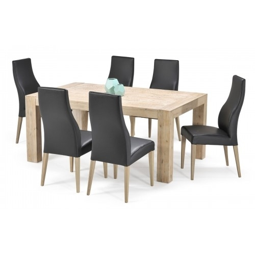 Eldorado 1800 Dining Table + 6 Black Aspen Chairs | The Furniture Trader Pertaining To Aspen Dining Tables (Image 18 of 25)