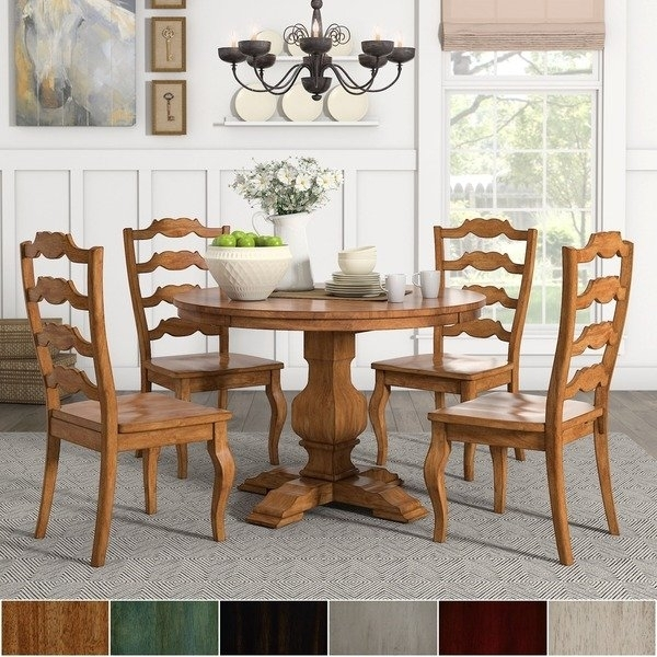Eleanor Oak Round Soild Wood Top Ladder Back 5 Piece Dining Set Inside Caden 7 Piece Dining Sets With Upholstered Side Chair (Image 11 of 25)