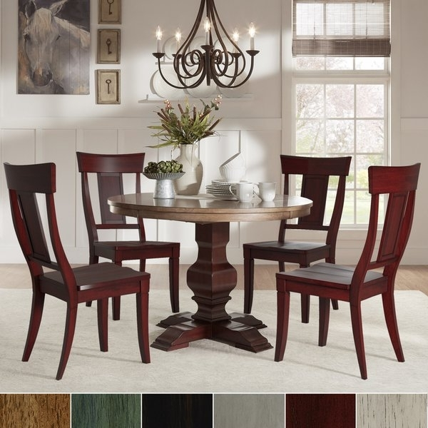 Eleanor Red Round Solid Wood Top 5 Piece Dining Set – Panel Back Throughout Caden 5 Piece Round Dining Sets (Image 18 of 25)