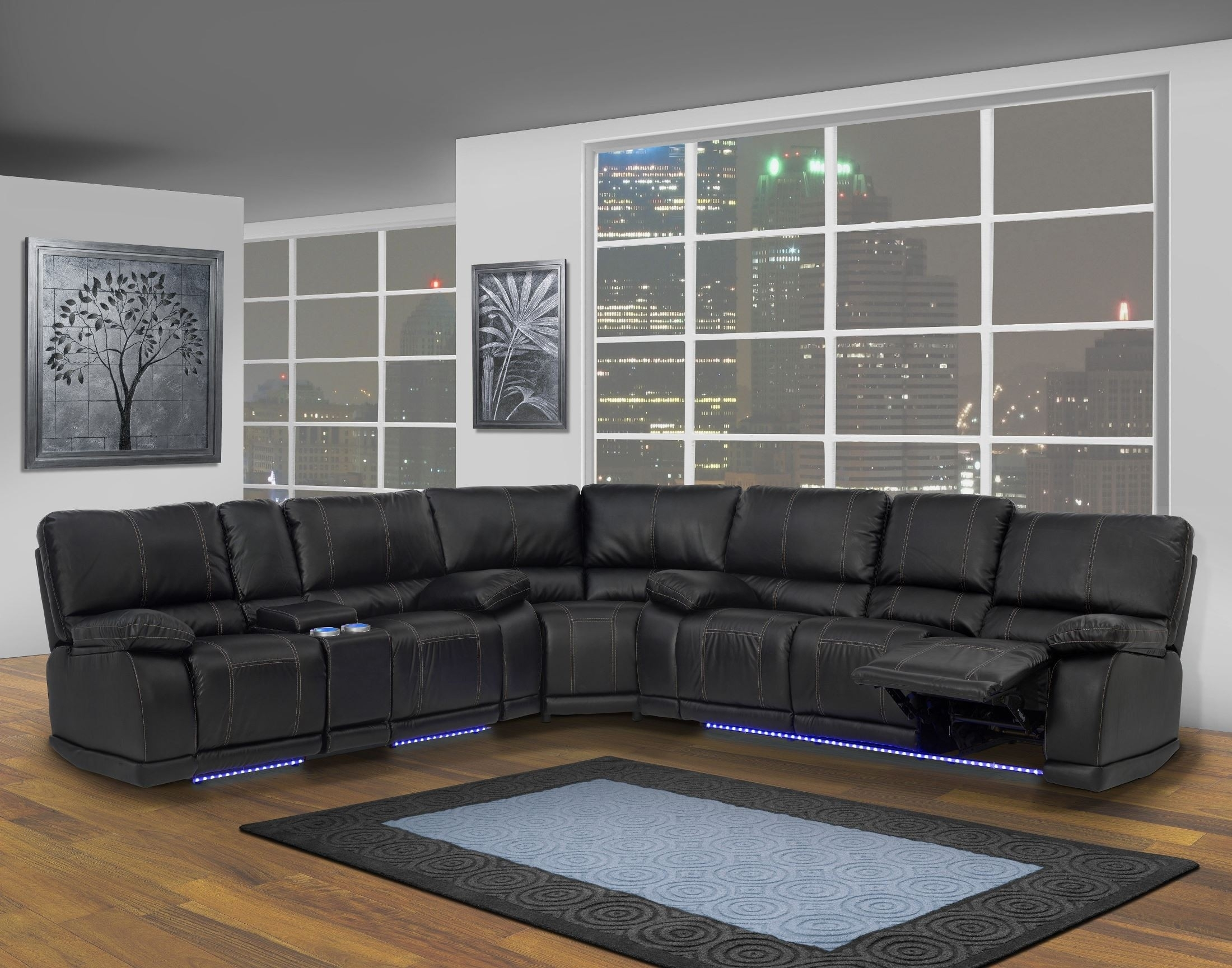 Electra Mesa Black Dual Reclining Sectional From New Classics (20 Inside Mesa Foam 2 Piece Sectionals (View 14 of 25)