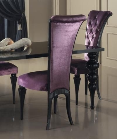 Elegance Diner - Dining Chair In Purple Velvet, Finished With with regard to Dining Tables And Purple Chairs