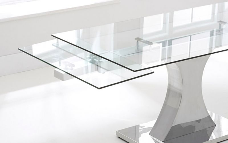 Elegant Glass Extendable Dining Table | Dining Room Table Plans With Regard To Glass Folding Dining Tables (Image 8 of 25)