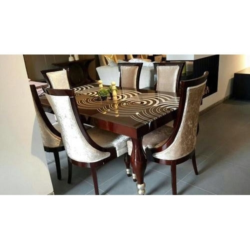 Elegant Lecoured Glass Top Dining Table 6 Seater Dining Table, Rs Regarding Glass 6 Seater Dining Tables (Image 13 of 25)
