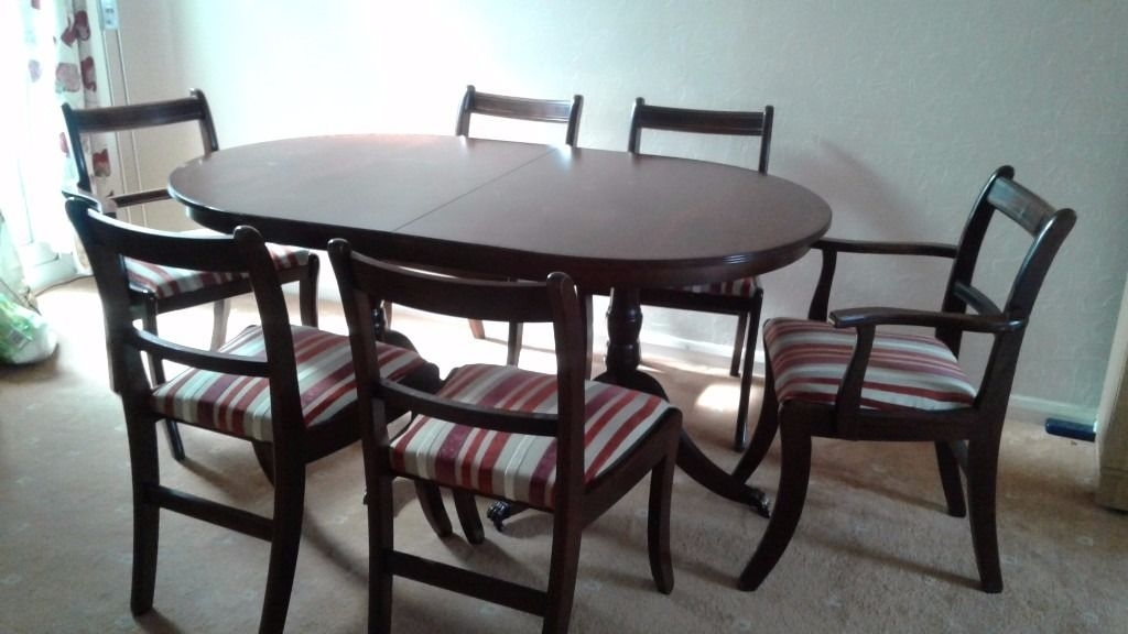 Elegant Mahogany Extending Dining Table & 6 Chairs | In Heathrow intended for Mahogany Extending Dining Tables And Chairs