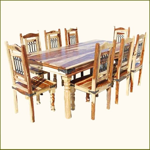 Elegant Rustic Solid Wood Dining Table Chairs Set For 8, 8 Chair Pertaining To Solid Oak Dining Tables And 8 Chairs (Photo 9 of 25)