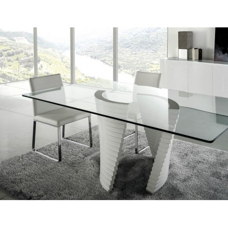 Elegante High Gloss Dining Table With Glass Top – Dining Tables In Glass And White Gloss Dining Tables (Image 6 of 25)