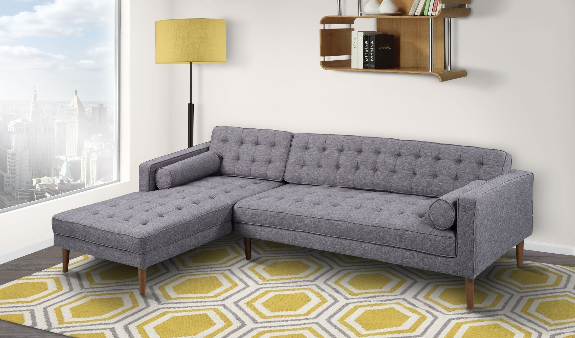 Element Dark Gray Linen Laf Sectional From Armen Living | Coleman With Regard To Delano Smoke 3 Piece Sectionals (View 21 of 25)
