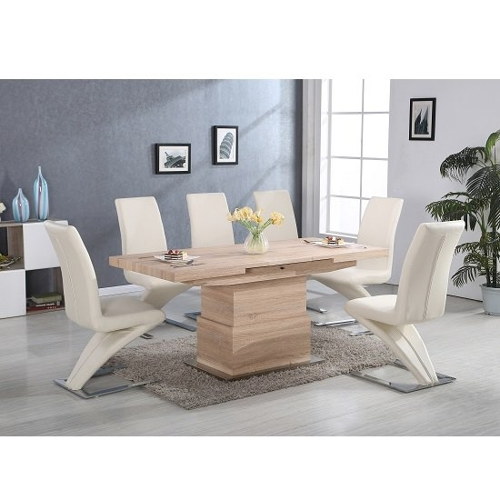 Elgin Convertible And Extendable Dining Table With 6 Demi In Cheap Extendable Dining Tables (Image 11 of 25)