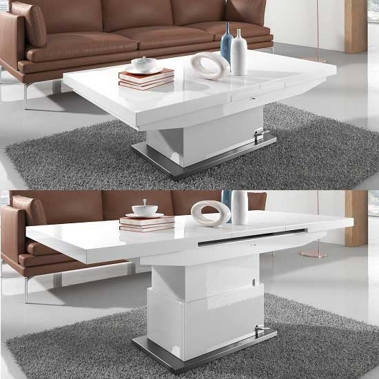 Elgin Extendable Coffee Converting Dining Table In White In Small White Extending Dining Tables (Photo 8 of 25)