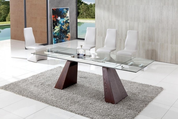 Eliot Contemporary Extending Dining Table With Angel Dining Chairs Intended For Walden Extension Dining Tables (Image 4 of 25)