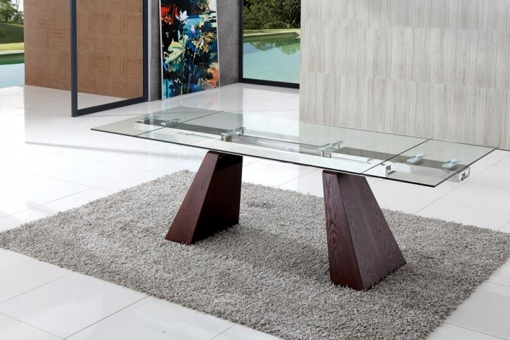 Eliot Extending Glass Dining Table | Glass Vault Furniture Inside Walden Extension Dining Tables (Image 5 of 25)