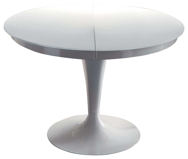 Elise Circular Dining Extendable Table – Midcentury – Dining Tables With Regard To White Circular Dining Tables (Image 12 of 25)