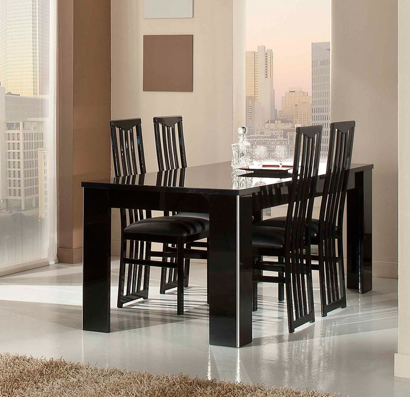 Elite Modern Italian Black Lacquer Dining Table for Cream Lacquer Dining Tables