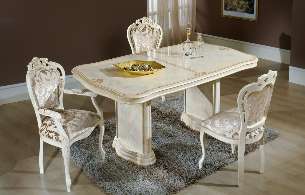 Elizabeth Extending Dining Table In Beige Marble With Dining Chairs with Marble Effect Dining Tables and Chairs