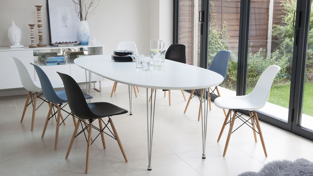 Ellie Oval Extending And Eames Style Dining Set Intended For White Extendable Dining Tables And Chairs (Image 9 of 25)