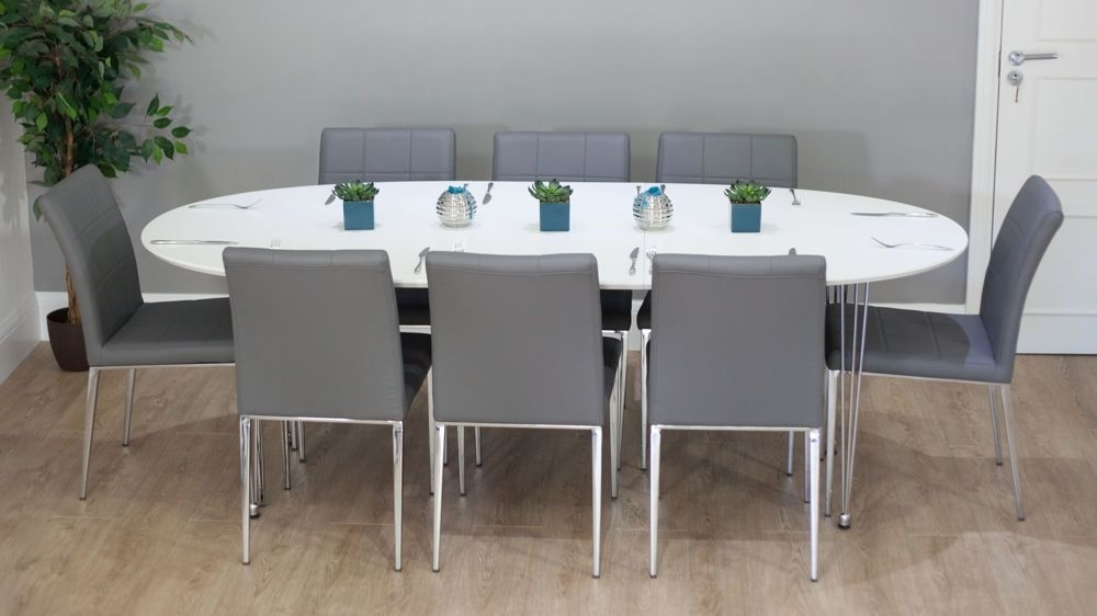 Ellie White Oval Extending Table | Pinterest | Gray Dining Chairs Regarding White Oval Extending Dining Tables (View 22 of 25)