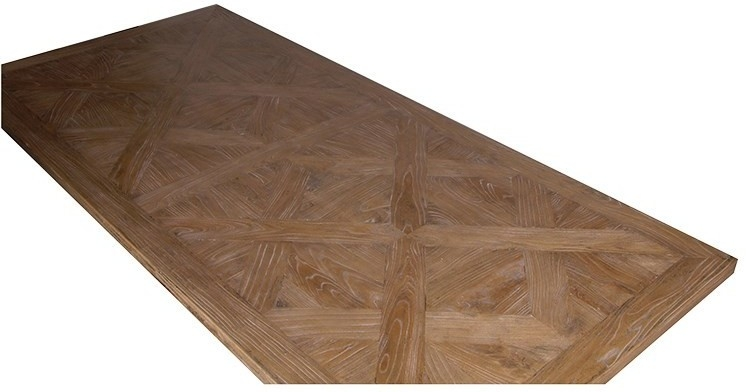 Elm Dining Table With Parquet Top Rustic Finish | Dining Tables With Regard To Parquet Dining Tables (Image 6 of 25)