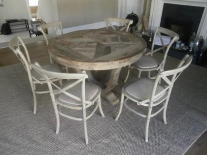 Elm Parquet Style Round Dining Table & 6 Chairs X1 Regarding Parquet 6 Piece Dining Sets (View 11 of 25)