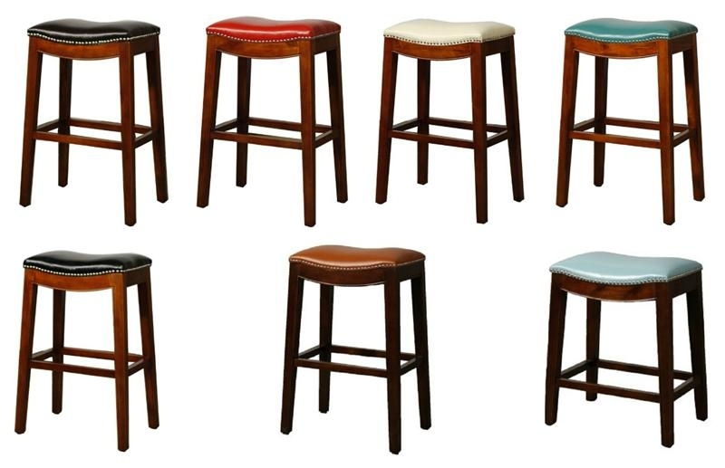 Elmo Bounded Leather Bar Stool With Regard To Valencia 4 Piece Counter Sets With Bench & Counterstool (Image 10 of 25)