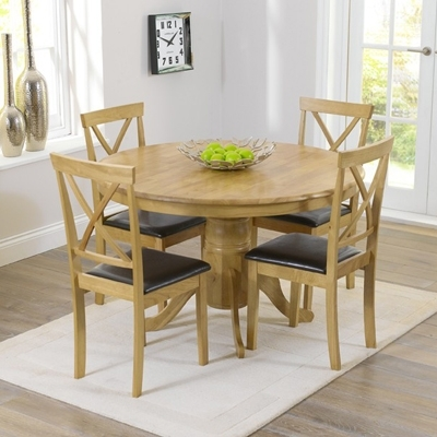 Elson Round Oak 4 Seater Dining Set – Robson Furniture Throughout Round Oak Dining Tables And Chairs (Image 10 of 25)