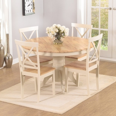 Elson Round Oak And Cream 4 Seater Dining Set Inside Round Oak Dining Tables And Chairs (Image 11 of 25)
