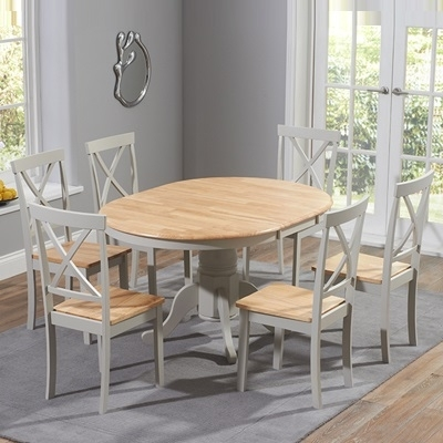 Elson Round Oak And Grey 6 Seater Extending Dining Set With Regard To Round Oak Extendable Dining Tables And Chairs (Image 8 of 25)