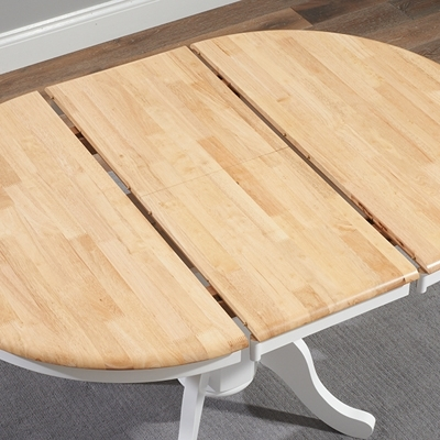 Elson Round Oak And White 6 Seater Extending Dining Set Regarding Round White Extendable Dining Tables (Image 5 of 25)