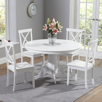 Elson Round White 4 Seater Dining Set – Robson Furniture In Round White Dining Tables (Image 6 of 25)