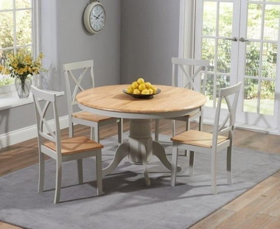 Elstree 120 Cm Painted Oak & Grey Round Dining Table + 4 Chairs Throughout Round Oak Dining Tables And 4 Chairs (Image 8 of 25)