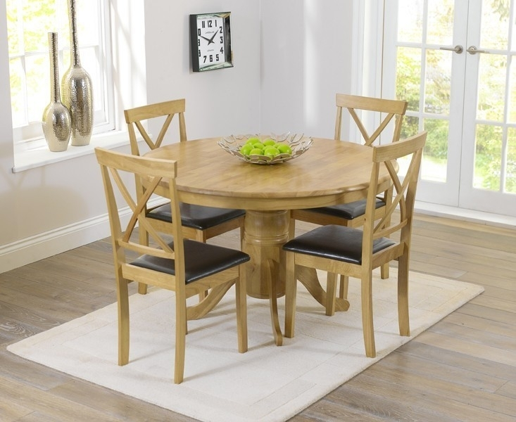 Elstree 120Cm Oak Round Dining Table + 4 Chairs – Swagger Inc Inside Oak Round Dining Tables And Chairs (Photo 8 of 25)