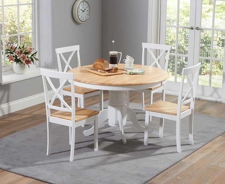 Elstree 120Cm Painted Oak & White Round Dining Table + 4 Chairs With Oak Round Dining Tables And Chairs (Image 11 of 25)