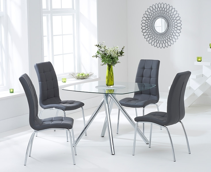 Elva 100Cm Glass Dining Table With Calgary Chairs In White Glass Dining Tables And Chairs (Image 14 of 25)