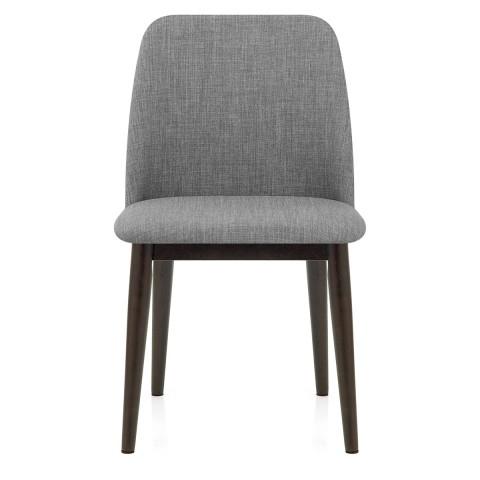 Elwood Walnut Dining Chair Grey Fabric – Atlantic Shopping Inside Grey Dining Chairs (Image 8 of 25)