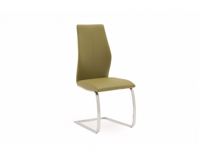 Elza Olive Chrome Dining Chair – Leather Chairs – Furniture World Intended For Chrome Dining Chairs (Image 8 of 25)