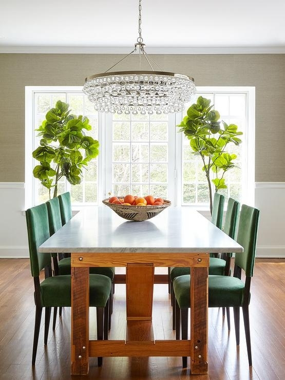 Emerald Green Dining Chairs With Marble Top Dining Table Inside Green Dining Tables (View 15 of 25)